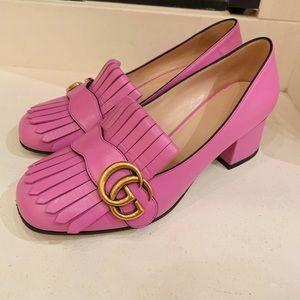 GUCCI marmont mid-heel pumps pink